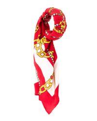 Balenciaga - Red Chain Jewels Scarf Plissé Bracelet - Lyst