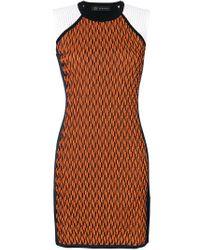 Versace - Orange Symmetric Knitted Dress - Lyst