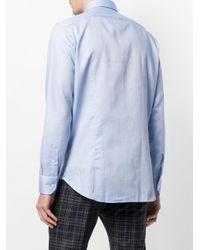 Etro - Blue Dot Print Curved Hem Shirt for Men - Lyst