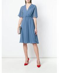 Lanvin - Blue Pleat Detail Dress - Lyst