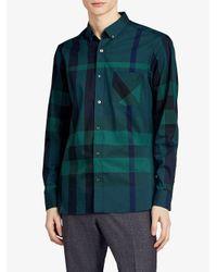 Burberry - Green Button-down Stretch Shirt for Men - Lyst