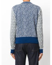 Tory Burch - Blue Intarsia Knit Bomber Jacket - Lyst