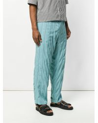Haider Ackermann - Blue Striped Belted Trousers for Men - Lyst