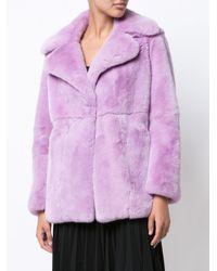 Alberta Ferretti - Purple Wide Lapel Fur Coat - Lyst