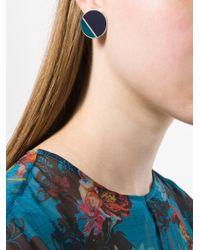 Lanvin - Black Geometric Contrast Earrings - Lyst