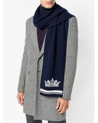 Dolce & Gabbana - Blue Logo Patch Scarf for Men - Lyst
