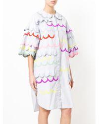 Tsumori Chisato - Blue Contrast Scalloped Trim Dress - Lyst