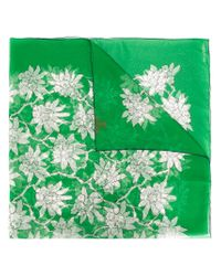 Valentino - Green Floral Print Scarf - Lyst