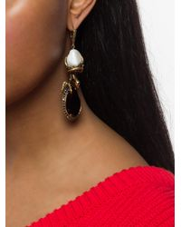 Alexander McQueen Metallic Gemstone Snake Drop Earrings