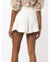 Zimmermann - White High-waisted Lace-up Shorts - Lyst