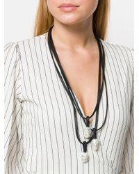 Monies - Black Iridescent Multi Pendant Necklace - Lyst