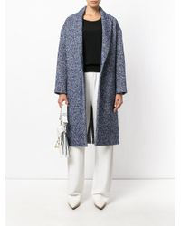 Erika Cavallini Semi Couture - Blue Textured Single Breasted Coat - Lyst