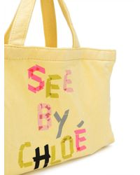 See By Chloé - Yellow Mini Logo Tote Bag - Lyst