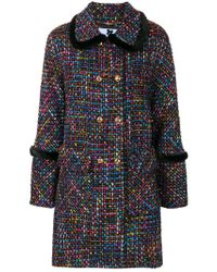 Blumarine - Blue Double Breasted Tweed Coat - Lyst
