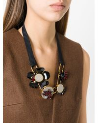 Marni - Black Geometric Petal Necklace - Lyst