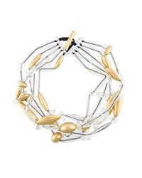Monies - Metallic Multi-strand Long Bead Necklace - Lyst