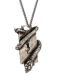 Saint Laurent - Metallic Ysl Serpent Plaque Necklace - Lyst