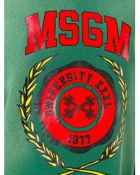 MSGM - Green Logo Print Shortsleeved Sweatshirt - Lyst