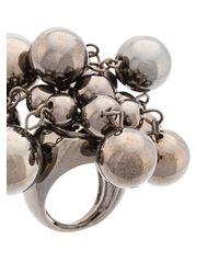 Oscar de la Renta - Metallic Bold Beaded Ring - Lyst