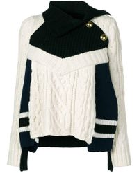 Sacai - White Cable Knit Sweater - Lyst