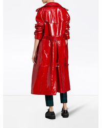 Burberry - Red Patent Trench Coat - Lyst