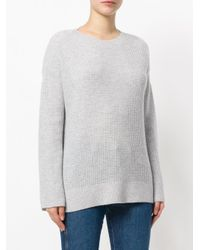 Theory - Gray Dropped Shoulder Cashmere Jumper - Lyst