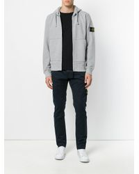 Stone Island | Gray Zipped Hoodie for Men | Lyst