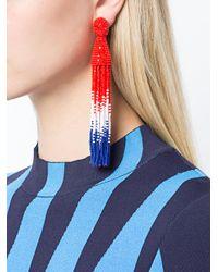 Oscar de la Renta - Red Tassel Beaded Drop Earrings - Lyst