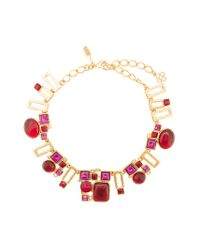Oscar de la Renta | Red Geometric Pendant Chain Necklace | Lyst