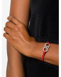 Ferragamo - Red Double Gancio Leather Bracelet - Lyst