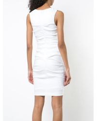Nicole Miller - White Fitted Ruched Dress - Lyst