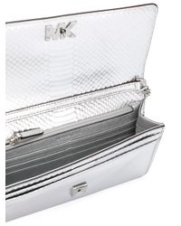 MICHAEL Michael Kors - Gray Snakeskin Effect Shoulder Bag - Lyst