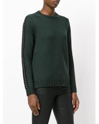 P.A.R.O.S.H. - Green Studded Trim Knitted Top - Lyst