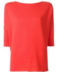 Lamberto Losani - Red Cashmere Three-quarters Sleeve Jumper - Lyst