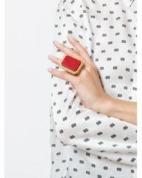 Balenciaga Red Large Square Ring