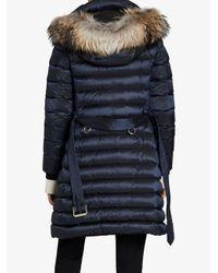 Burberry - Blue Fur Trim Quilted Coat - Lyst