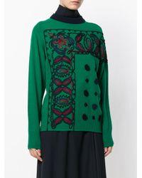 Sacai - Green Braided Knit Sweater - Lyst