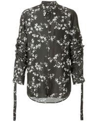 Ann Demeulemeester - Black Floral Print Shirt for Men - Lyst