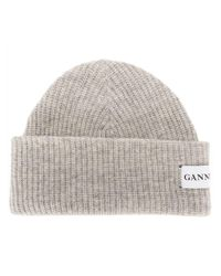 Ganni Hatley Wool Blend Beanie Hat in Gray - Lyst ef742e53221d