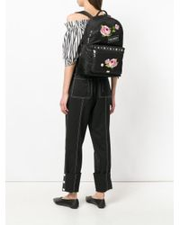Dolce & Gabbana Black Floral Applique Backpack