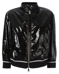 Moncler | Black Funnel Neck Bomber Jacket | Lyst