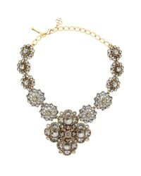 Oscar de la Renta - Metallic Bold Jeweled Necklace - Lyst