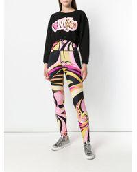 Emilio Pucci - Black Printed Crop Sweatshirt - Lyst