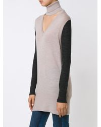 TOME - Blue V-neck Turtleneck Jumper - Lyst