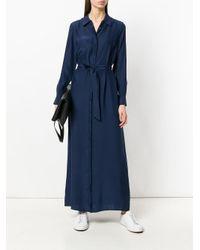 P.A.R.O.S.H. - Blue Tie Waist Shirt Dress - Lyst