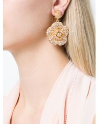 Oscar de la Renta - Metallic Gardenia Pave Drop Earrings - Lyst