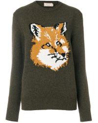Maison Kitsuné | Green Fox Motif Jumper | Lyst