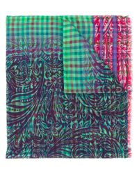 Etro - Green Checked Scarf for Men - Lyst