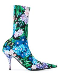 bcf4ded62cd1 Balenciaga Floral-print Knife Booties in Black - Lyst