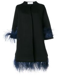 Gianluca Capannolo - Black Capucine Feather Embellished Coat - Lyst
